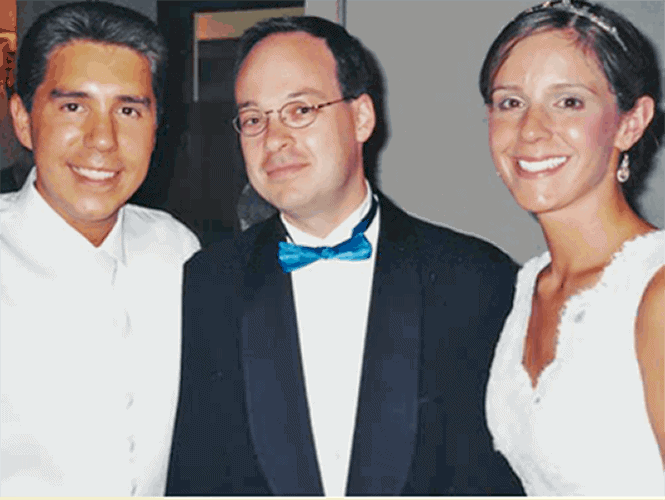 Aaron Topfer with a Bride & Groom at a Wedding in Downtown Boston.